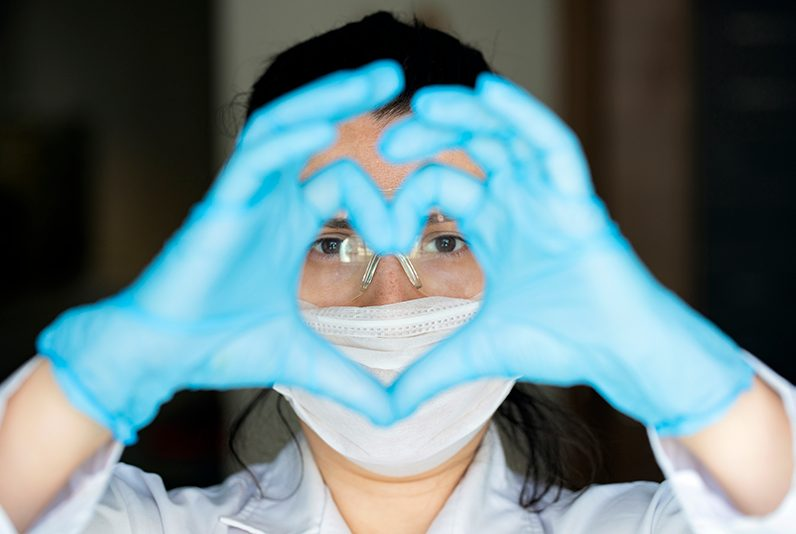 Female Healthcare worker wearing personal protective equipment