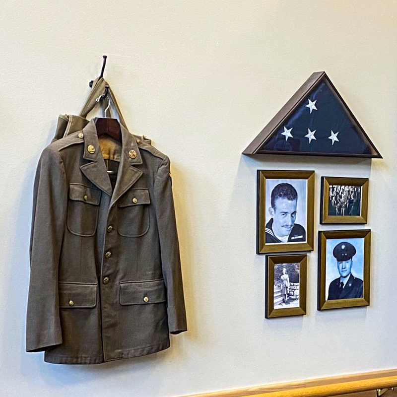 Life Station - military uniform, flag, enlistment photos